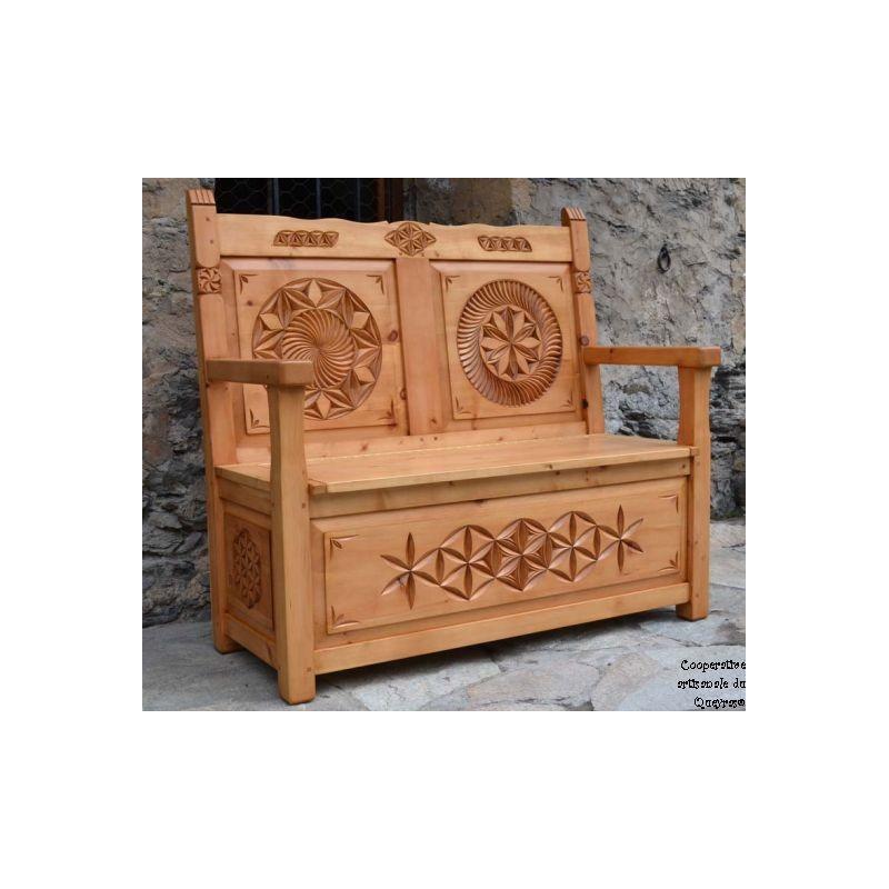 Banc coffre de rangement en bois massif fabrication artisanale 100 fran aise - Fabrication banc en bois ...
