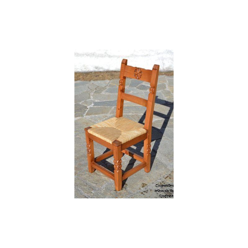 Chaise bois sculpté paillée dorée, Chaise artisanale de salle à ...