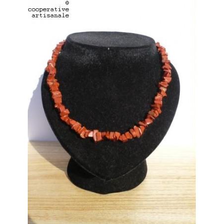 Collier et bracelet baroques en Jaspe rouge