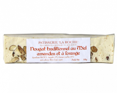 Nougat  traditionnel au miel, amandes et orange