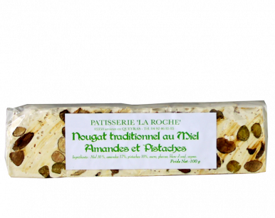 Nougat traditionnel au miel, amandes et pistaches