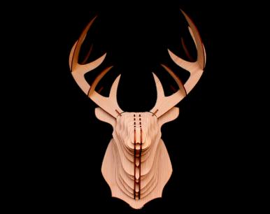 Puzzle cerf 3D en mélèze