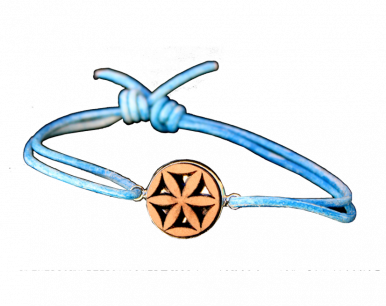 Bracelet  bois et lien bleu