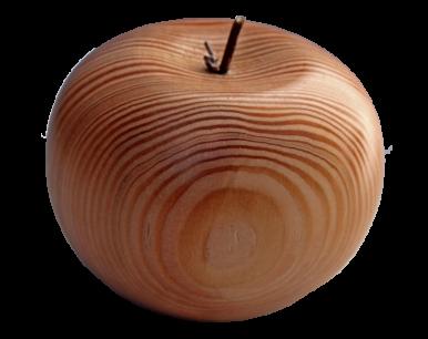 Pomme en bois tournée